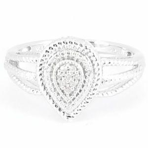 Jewelry - Sterling Silver Diamond Teardrop Shape Ring Size 7